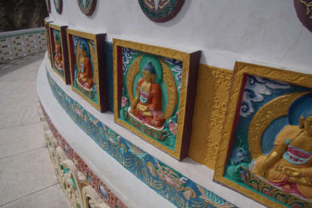 Buddhist decorations on Shanti Stupa ,Leh, Ladakh, India Stock Photo