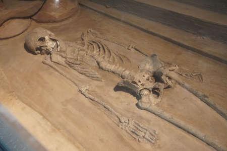 NEW DELHI, INDIA - SEP 10, 2017 - Female skeleton from the harappan civilisation National Museum, New Delhi, India