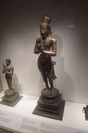 NEW DELHI, INDIA - SEP 10, 2017 - Devotee or saint, hands in anhjali mudra position,  National Museum, New Delhi, India