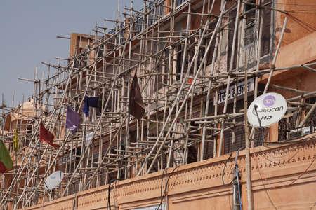 JAIPUR, INDIA - OCT 8, 2017 - Bamboo construction scaffolding,  Jaipur, Rajasthan, India