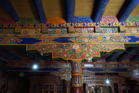 Painted wooden struts and beams in Liker Gompa Monastery, Ladakh, India
