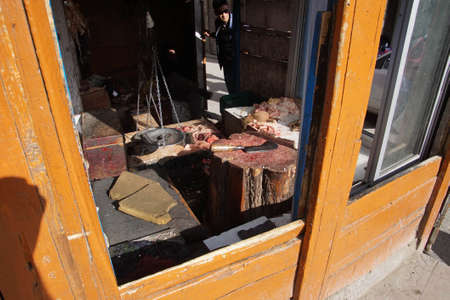 Butcher shop in central market of Leh, Ladakh, India Zdjęcie Seryjne