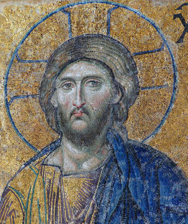 ISTANBUL, TURKEY - MAY 17, 2014 -Byzantine mosaic of Christ  in the gallery of Hagia Sophia in Istanbul, Turkey 新聞圖片