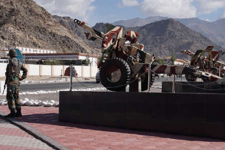 Howitzers on display (7524 Pack) outside Indian Army Museum in Leh, Ladakh, India
