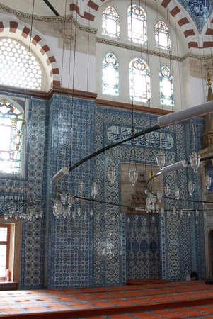 ISTANBUL, TURKEY - MAY 14, 2014 - Iznik tile mosaics decorating the    Rustem Pasha Mosque,  in Istanbul, Turkey