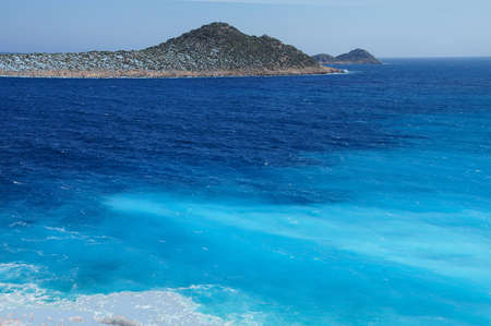 Spectacular blues of the Aegean Sea from the coastal highway near Xantos,  Turkey