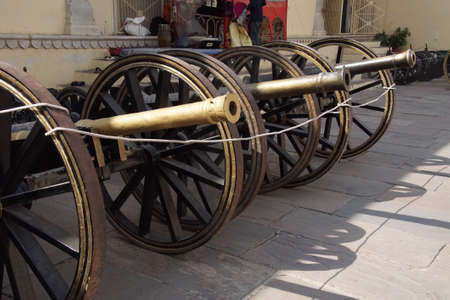 Row of small cannon in the City Palace of  Jaipur, Rajasthan, India Reklamní fotografie
