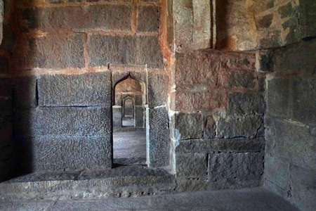 Interior passage in the elephant stables in  Vijayanagar, Karnataka, India