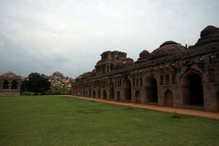 Elephant stables in  Vijayanagar, Karnataka, India
