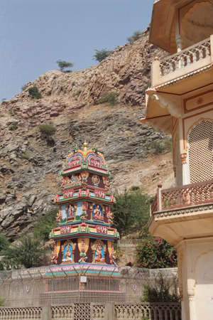 Outer buildings of the Galtaji temple complex, Jaipur, Rajasthan, India