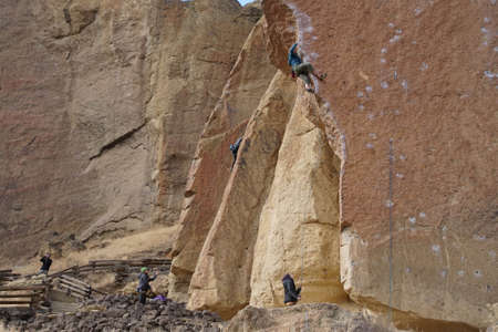 TERREBONNE, OREGON - NOV 6, 2017 - Rock climbers and belayers at Smith Rock State Park, Oregon Editorial