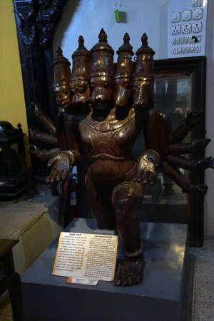 PUNE, INDIA - OCT 2, 2017 - Panchmukhi Maruti Rudra statue in Raja Dinkar Kelkar Museum, Pune, India Editorial