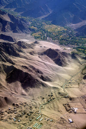 Aerial view of final approach to Leh  Ladakh , India Stock fotó