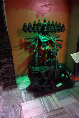 PUNE, INDIA - OCT 2, 2017 - Durga Mahakali, Great Kali, statue, Raja Dinkar Kelkar Museum, Pune, India