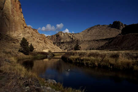 Footbridge over the Crooked River, Smith Rock State Park, Oregon Stock Photo