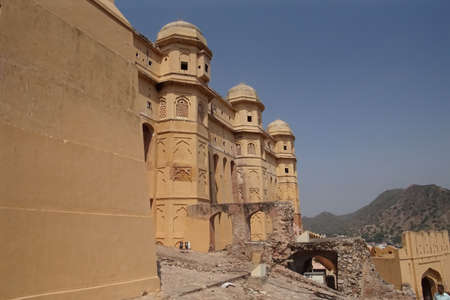 Defensive walls and turrets of Amber Fort near  Jaipur, Rajasthan, India