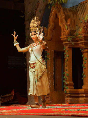 SIEM REAP, CAMBODIA - FEB 14, 2015 - Apsara dancer performs at an evening recital,  Siem Reap,  Cambodia