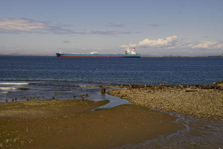 Oil supertanker anchored in the Strait of Juan de Fuca near Port Angeles, Washington