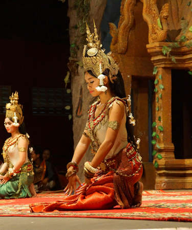 SIEM REAP, CAMBODIA - FEB 14, 2015 - Apsara dancer performs at an evening recital,  Siem Reap,  Cambodia