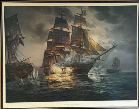 SAN DIEGO, CALIFORNIA - DEC 1, 2017 -Painting of USS Constitution in battle, USS Midway CV-41 Aircraft Carrier, San Diego, California