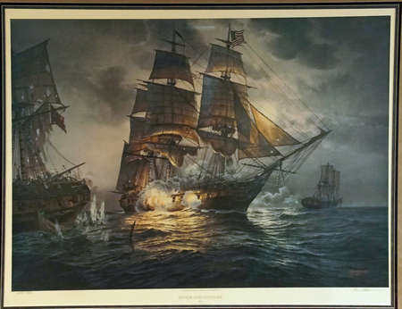 SAN DIEGO, CALIFORNIA - DEC 1, 2017 -Painting of USS Constellation in battle, USS Midway CV-41 Aircraft Carrier, San Diego, California Editorial