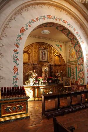 SAN JUAN DE CAPISTRANO, CALIFORNIA - DEC 4, 2017 - Altar in Mission Basilica, San Juan de Capistrano, California
