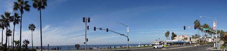 CARLSBAD, CALIFORNIA - DEC 4, 2017 - Traffic signals on coastal highway in Carlsbad, California