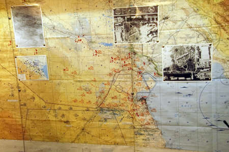 SAN DIEGO, CALIFORNIA - DEC 1, 2017 -Strategic planning maps for 1991 Operation Desert Storm, USS Midway CV-41 Aircraft Carrier, San Diego, California