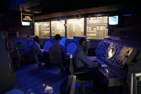 SAN DIEGO, CALIFORNIA - DEC 1, 2017 - Radar tracking and detection stations aboard the USS Midway CV-41 Aircraft Carrier, San Diego, California Editorial