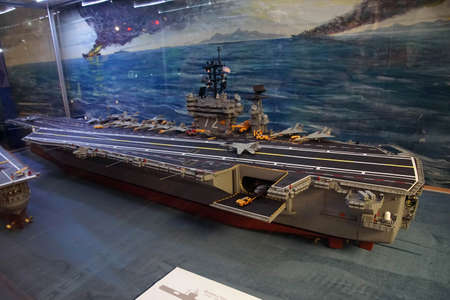 SAN DIEGO, CALIFORNIA - NOV 27, 2017 - Model of United States aircraft carrier, Air and Space Museum at Balboa Park in San Diego, California