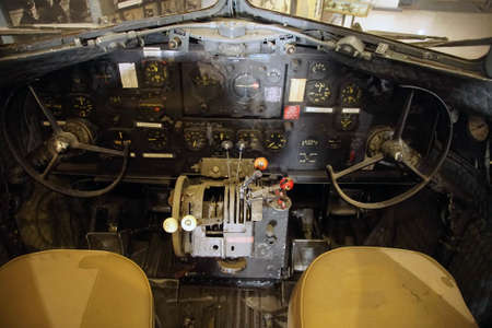 SAN DIEGO, CALIFORNIA - NOV 27, 2017 - Cockpit controls of Douglas DC-3, Air and Space Museum at Balboa Park in San Diego, California