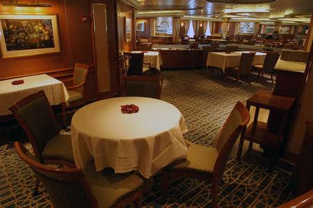 PACIFIC OCEAN - DEC 6, 2017 - Formal dining room on a cruise ship, eastern Pacific Ocean Editöryel