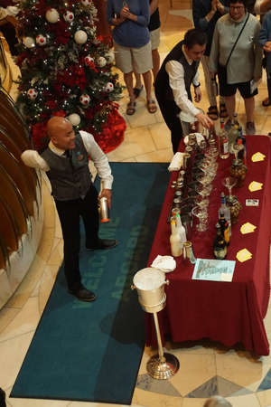 PACIFIC OCEAN - DEC 6, 2017 - Mixing cocktails in the atrium of a cruise ship, eastern Pacific Ocean
