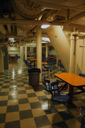 SAN PEDRO, CALIFORNIA - DEC 5, 2017 - Galley mess area of USS Iowa BB-61, San Pedro, California