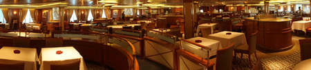 PACIFIC OCEAN - DEC 6, 2017 - Formal dining room on a cruise ship, eastern Pacific Ocean Stok Fotoğraf
