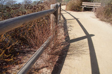Fenced pathway in Torrey Pines State Preserve near San Diego, California
