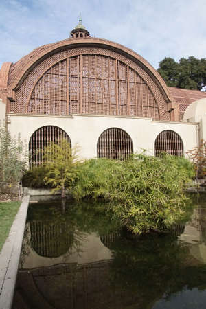 Reflecting pool and   Botanical house of Balboa Park, San Diego, California