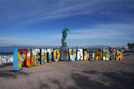 PUERTO VALLARTA, MEXICO - DEC 9, 2017 - Block letters spelling city name, Puerta Vallarta, Mexico