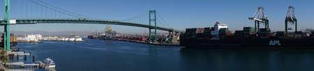Panorama of freeway suspension bridge and Long Beach port harbor, San Pedro, California Sajtókép