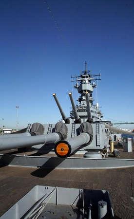 SAN PEDRO, CALIFORNIA - DEC 5, 2017 - Sixteen inch gun turret,USS Iowa BB-61, San Pedro, California