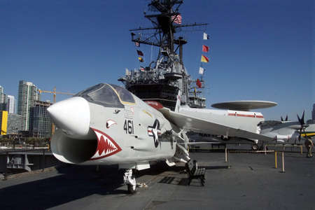 SAN DIEGO, CALIFORNIA - DEC 1, 2017 - F8 Crusader fighter jet aircraft, USS Midway CV-41 Aircraft Carrier, San Diego, California