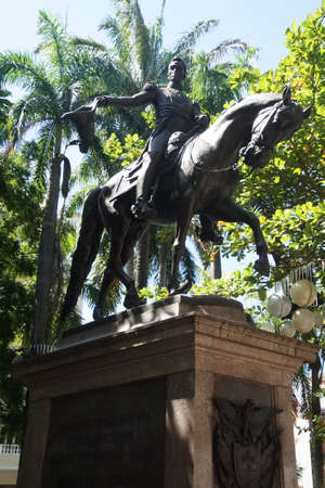 Statue of Simon Bolivar, liberator of Colombia,Cartagena, Colombia Editorial