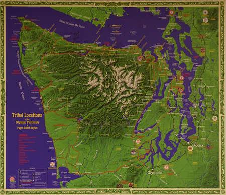 Reliëfkaart van Olympic National Park, Washington Stockfoto - 92693858