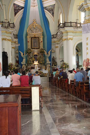 PUERTO VALLARTA, MEXICO - DEC 9, 2017 - Mass celebration in Church of Our Lady of Guadalupe, Puerta Vallarta, Mexico