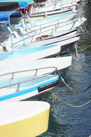 Bows of small boats in a marrina in Huatulco, Mexico