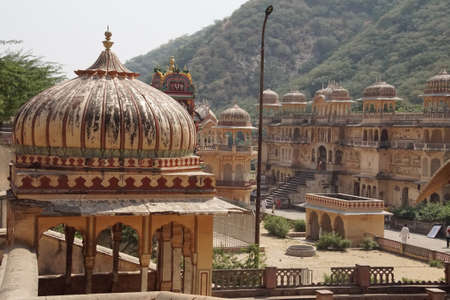 Turrets and domes of the Galtaji temple complex, Jaipur, Rajasthan, India