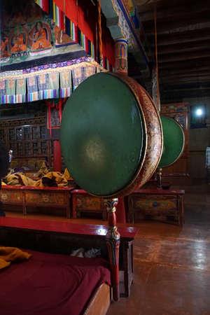 LADAKH, INDIA - SEP 12, 2017 - Buddhist drum in temple of Liker Gompa Monastery, Ladakh, India