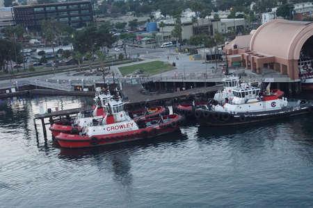 SAN PEDRO, CALIFORNIA - DEC 6, 2017 - Fire boats at anchor in Long Beach harbor, San Pedro, California