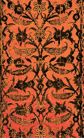 ISTANBUL, TURKEY  - MAY 18, 2014 - Elaborate Iznik mosaic tile work of the Harem  in Topkapi Palace,  in Istanbul, Turkey Stock Photo