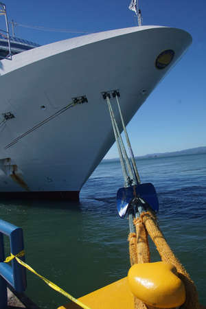 Dock hawser and bow of cruise ship, Puntarenas, Costa Rica